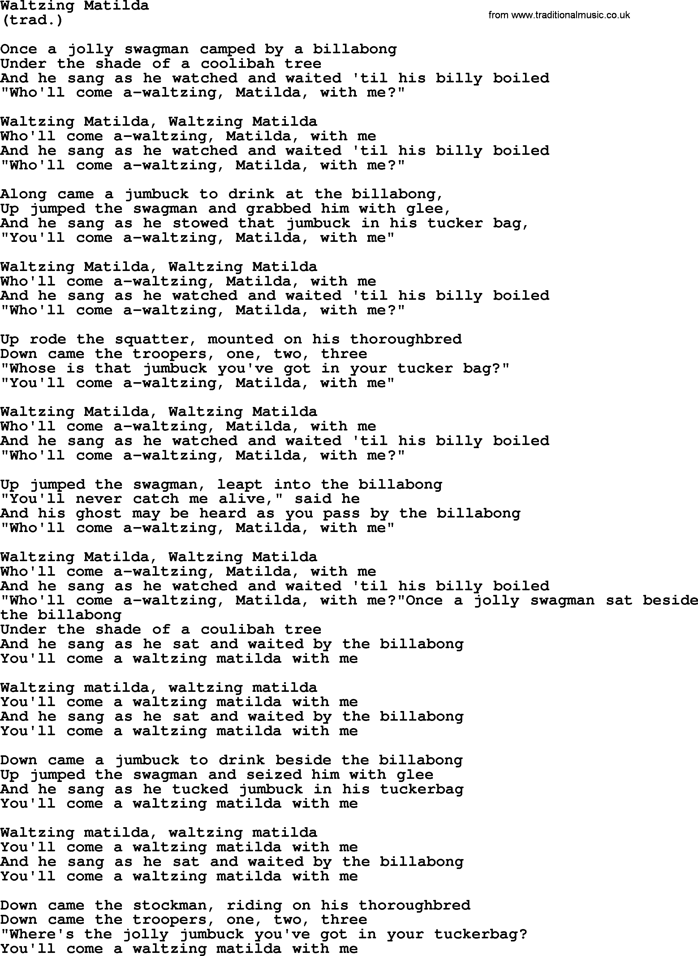 Waltzing Matilda By The Byrds Lyrics With Pdf