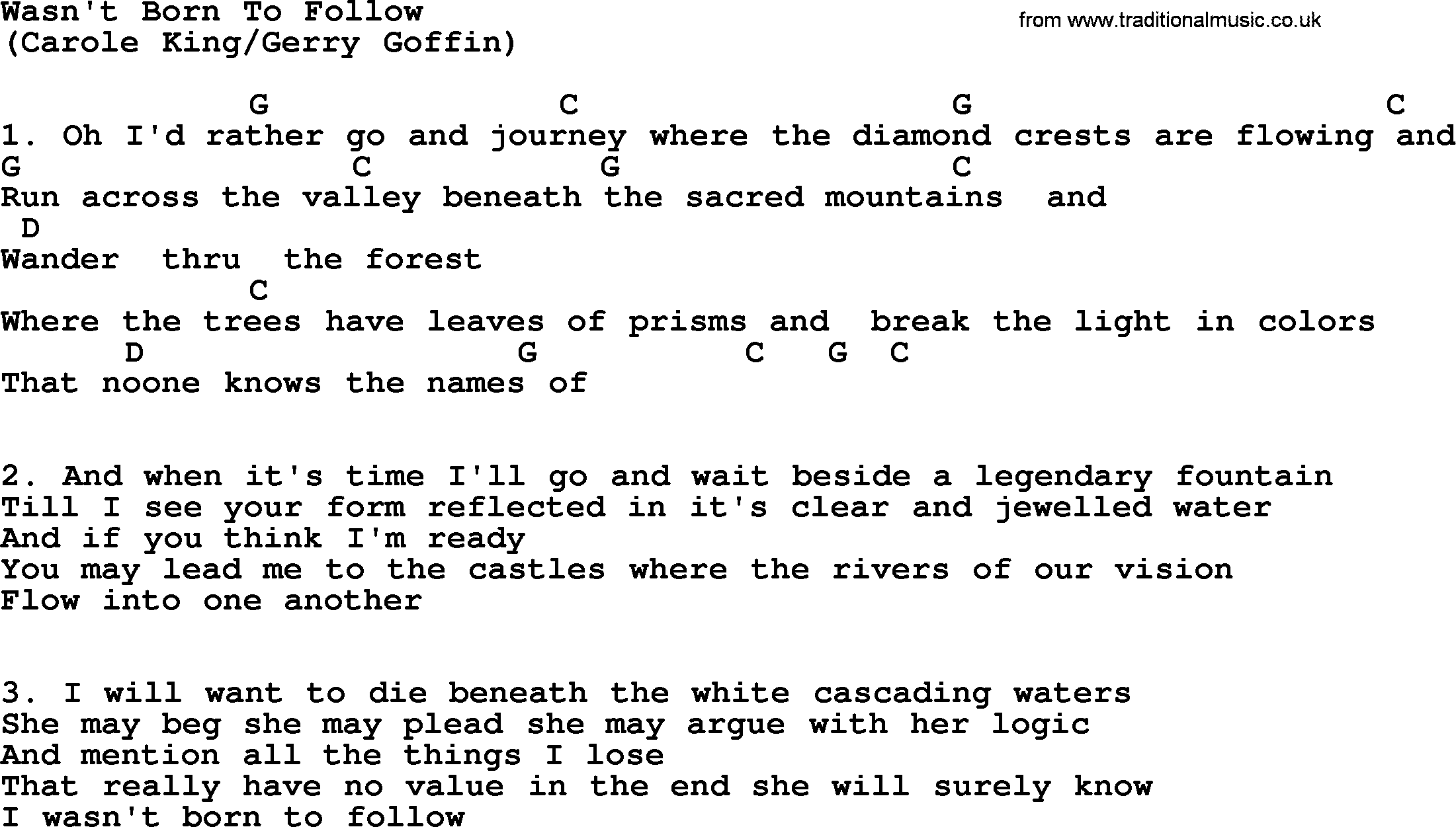 Wasnt Born To Follow By The Byrds Lyrics And Chords