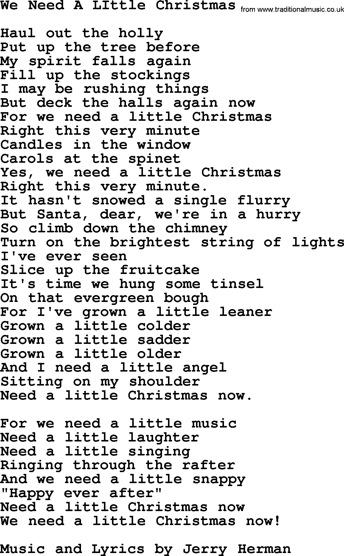 We Need A Little Christmas, by The Byrds - lyrics with pdf