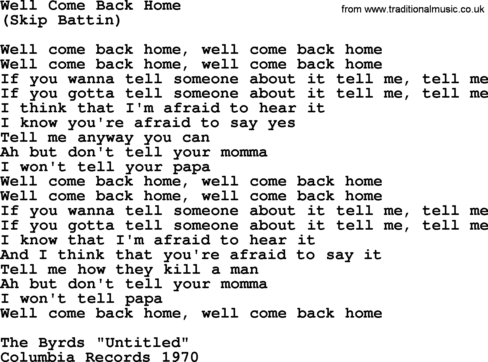 Well come back home by the byrds lyrics with pdf the byrds song well come back home lyrics hexwebz Gallery