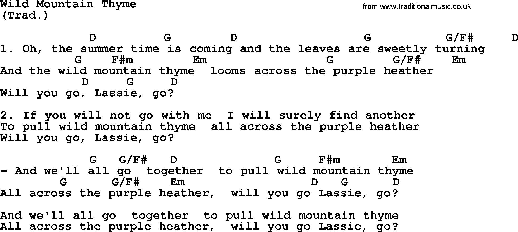 Wild Mountain Thyme Lyrics