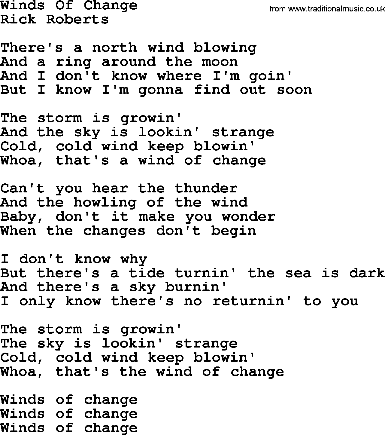 Winds Of Change, by The Byrds - lyrics with pdf