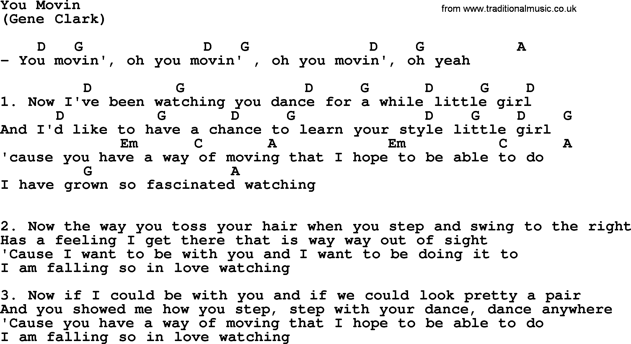 You Movin By The Byrds Lyrics And Chords