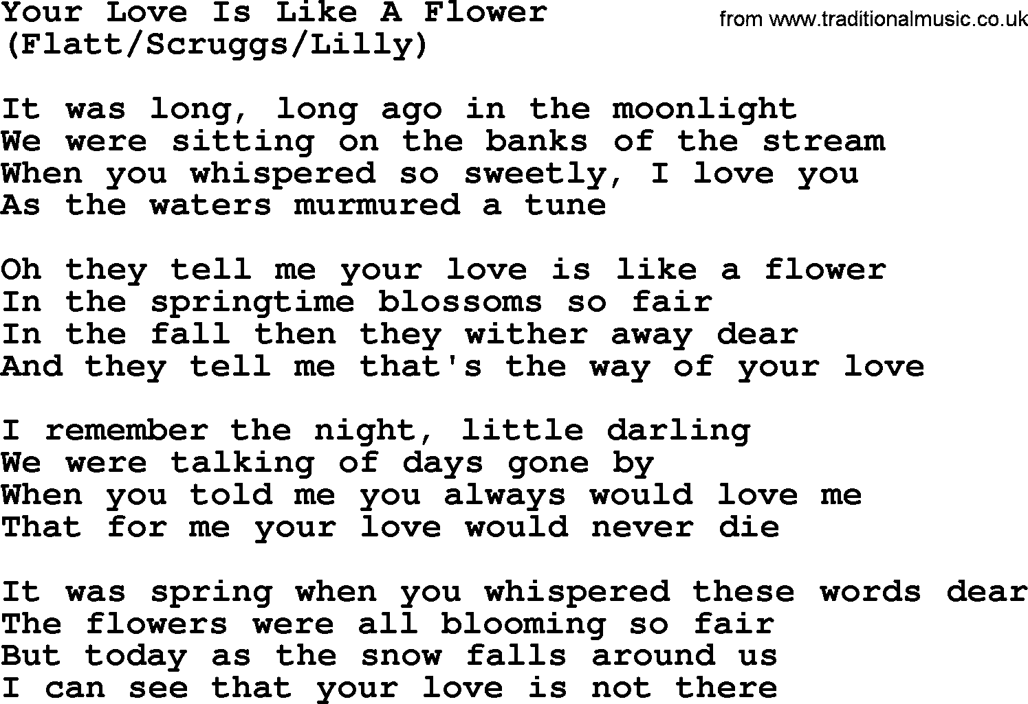 Your Love Is Like A Flower By The Byrds Lyrics With Pdf