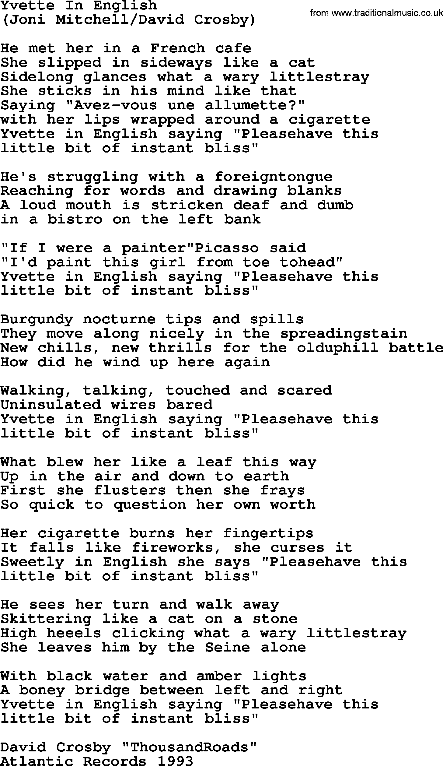 Yvette In English, by The Byrds - lyrics with pdf