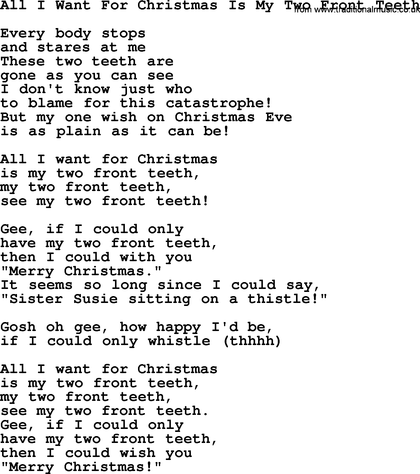 Lyrics All I Want For Christmas.Catholic Hymns Song All I Want For Christmas Is My Two