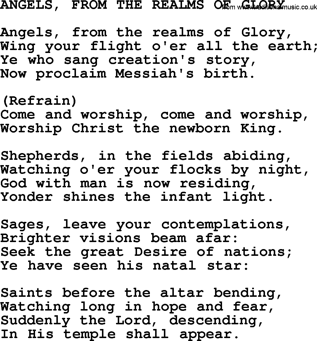 Catholic Hymns Song Angels From The Realms Of Glory Lyrics And Pdf