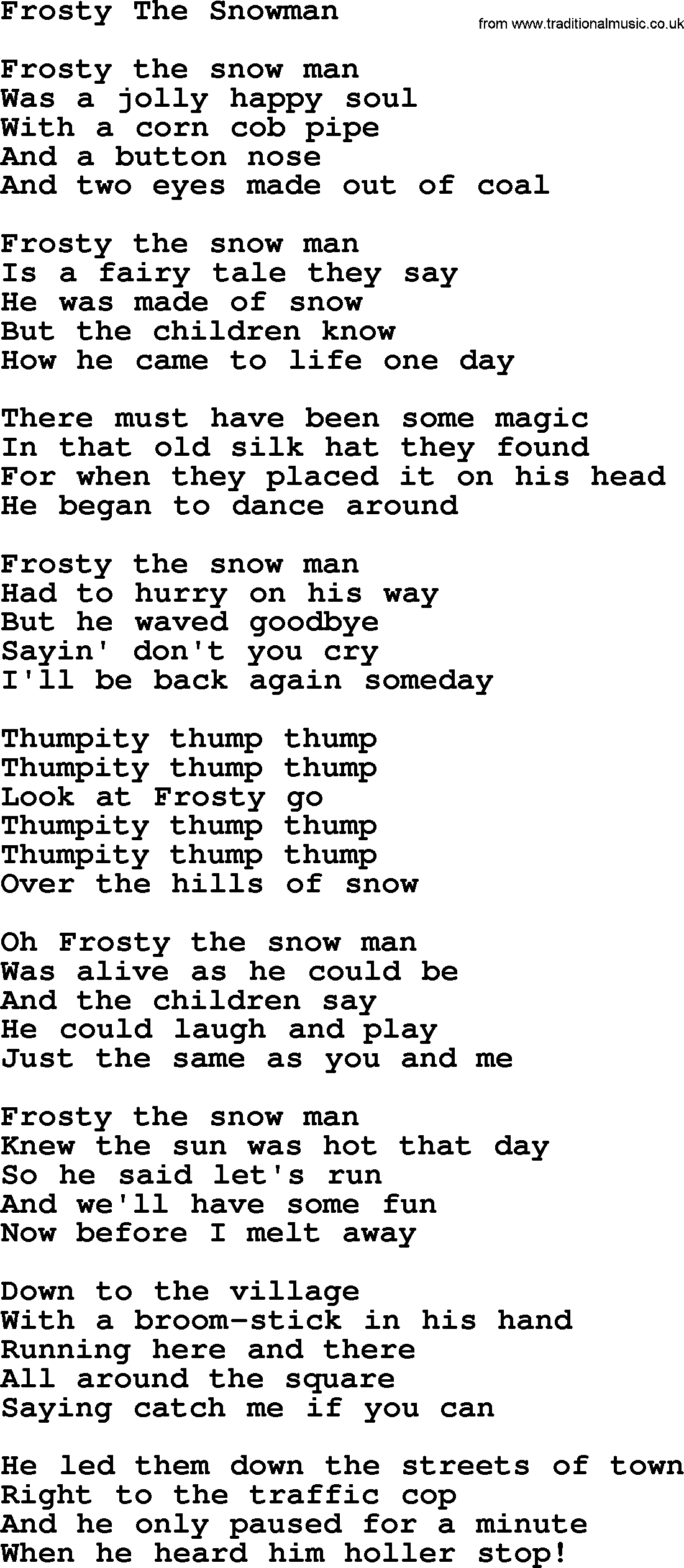 catholic hymns song frosty the snowman lyrics and pdf