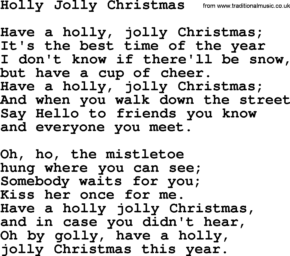 Catholic Hymns, Song: Holly Jolly Christmas - lyrics and PDF