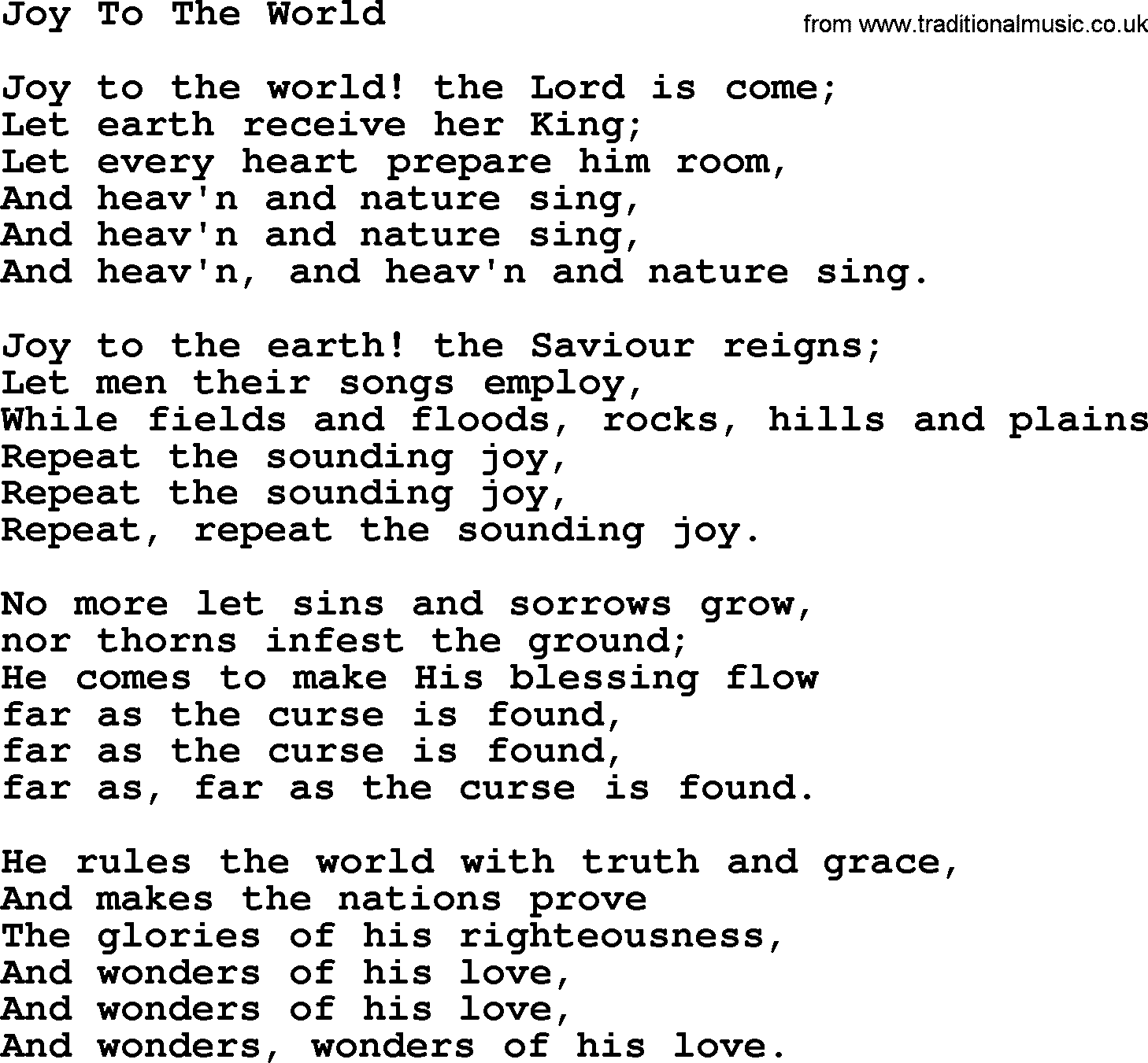 Joy to the world hymn for Bedroom hymns lyrics