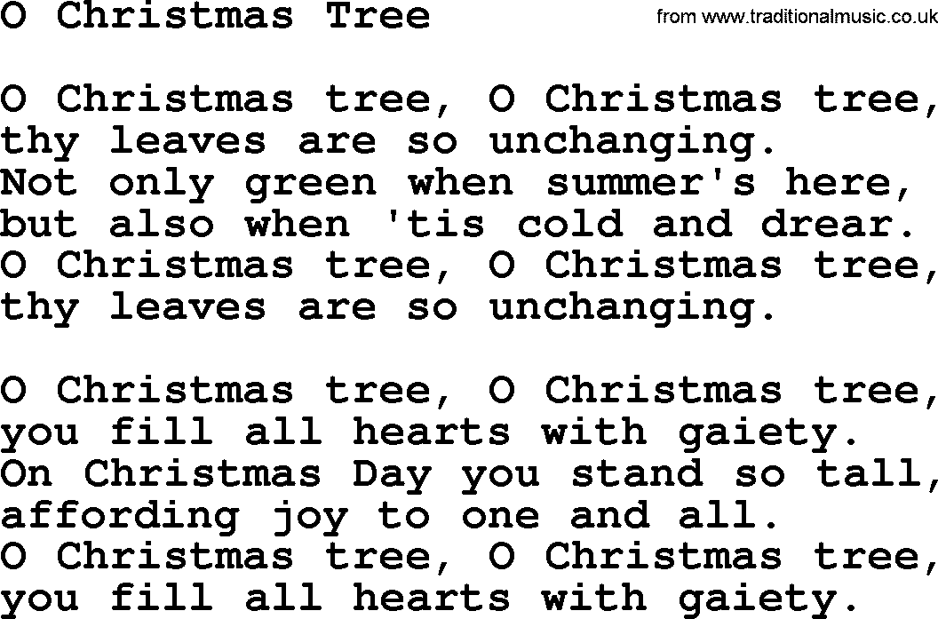 Catholic Hymns, Song: O Christmas Tree - lyrics and PDF