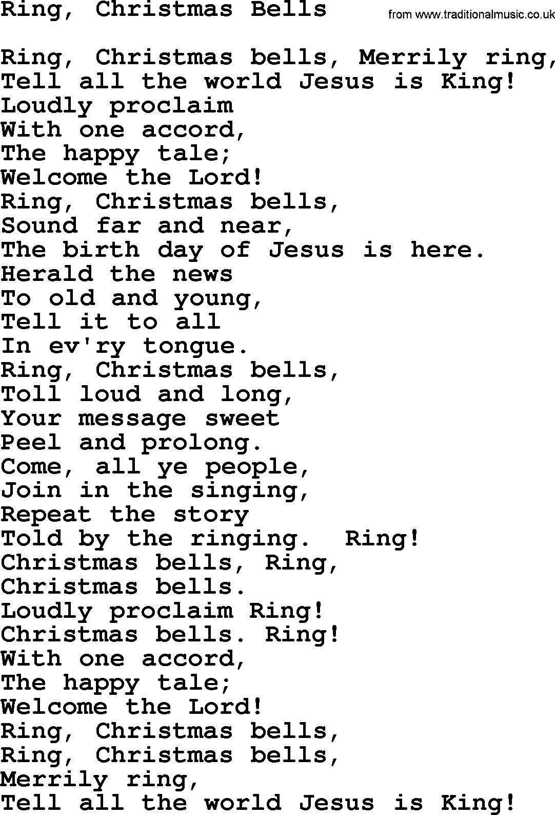 RING CHRISTMAS BELLS LYRICS - YouTube