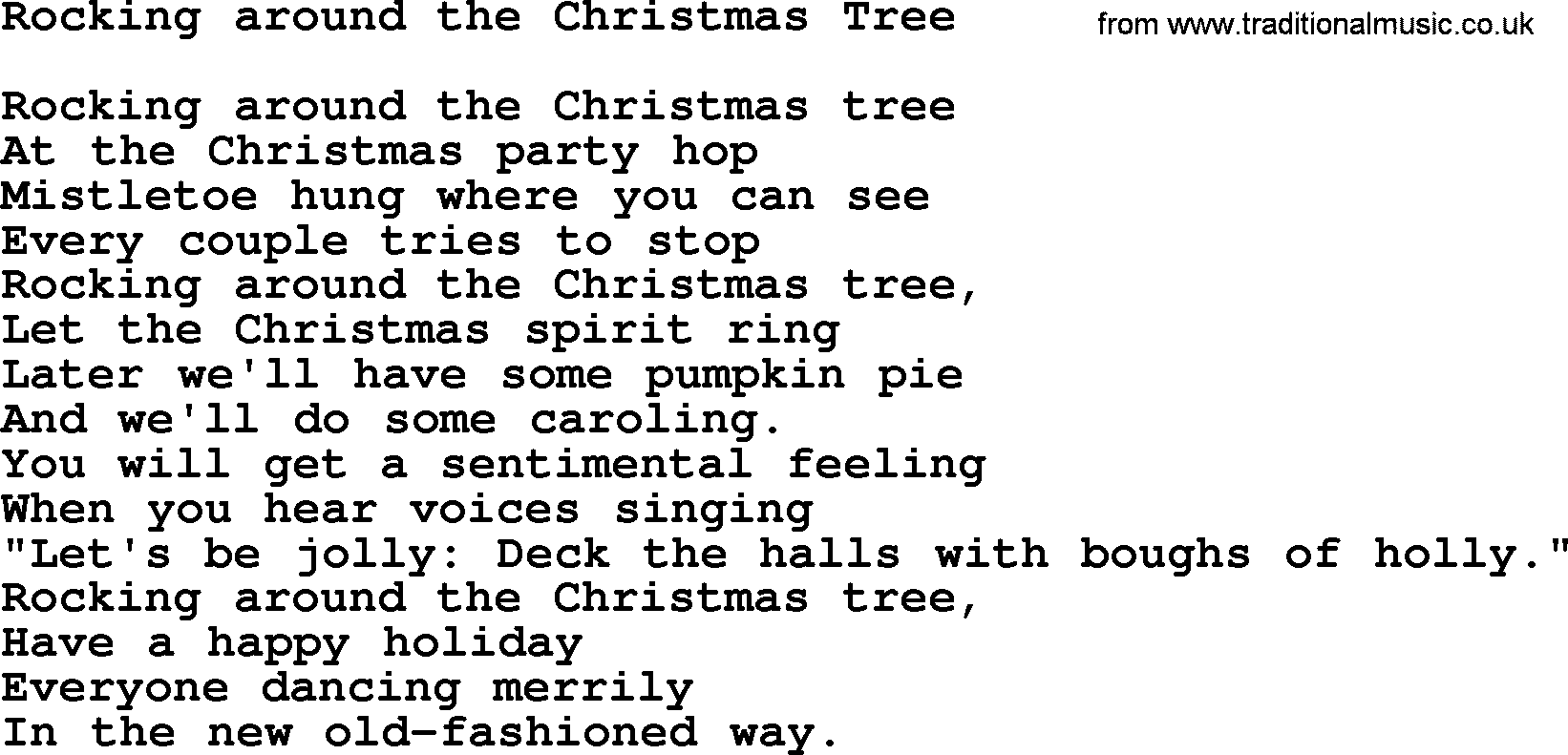 Catholic hymns song rocking around the christmas tree for Around the tree