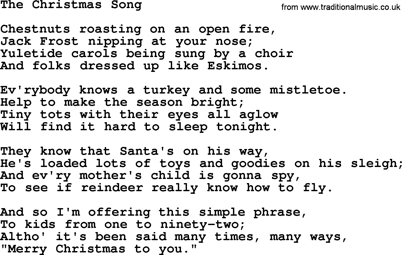 Catholic Hymns, Song: The Christmas Song - lyrics and PDF