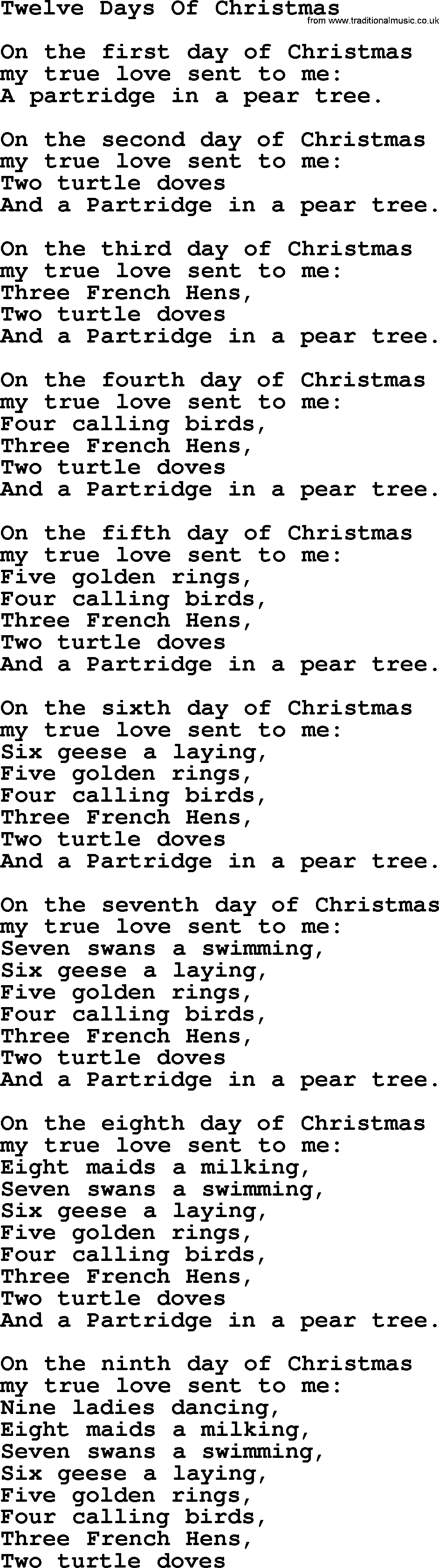 Catholic Hymns, Song: Twelve Days Of Christmas - lyrics and PDF