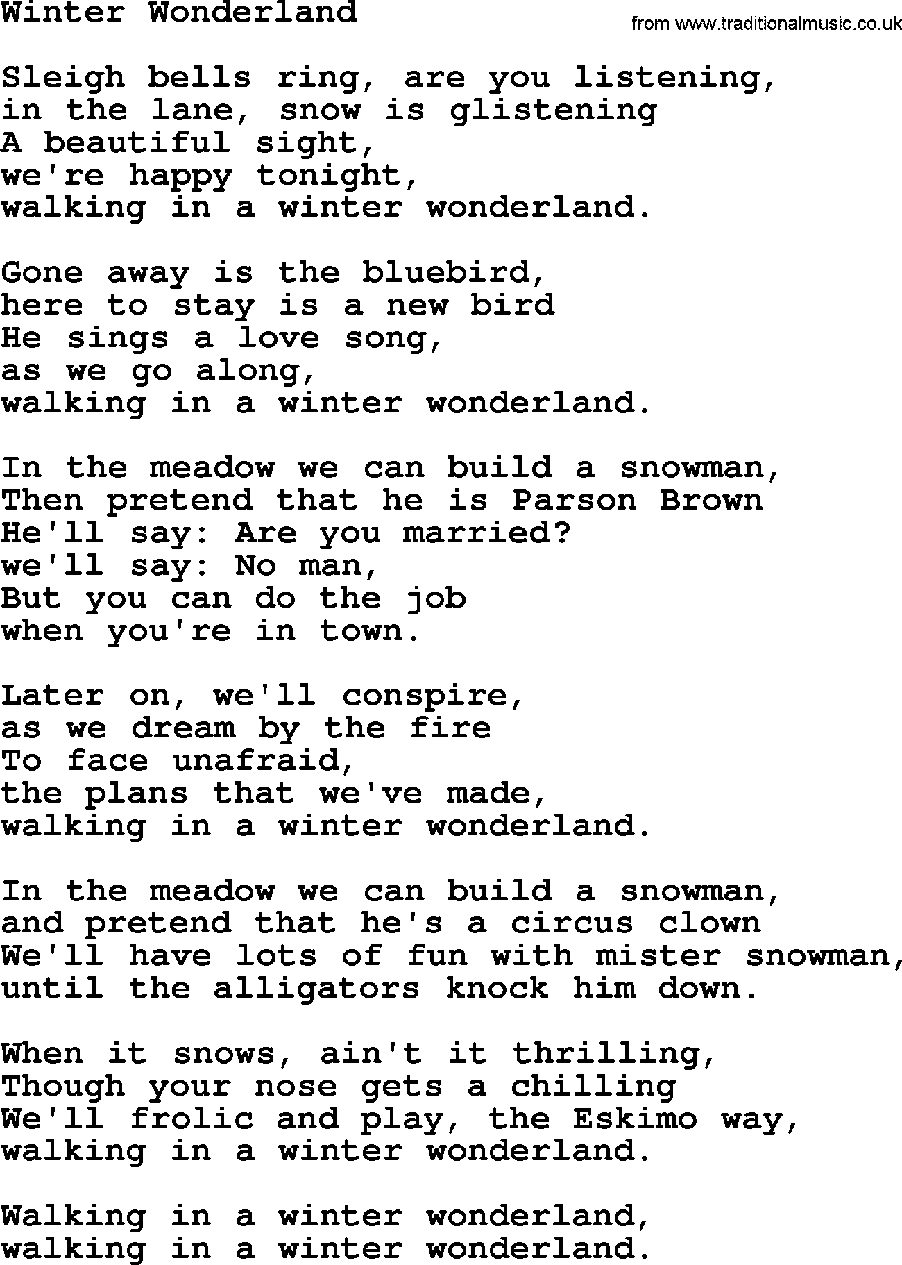 Winter wondeland lyrics