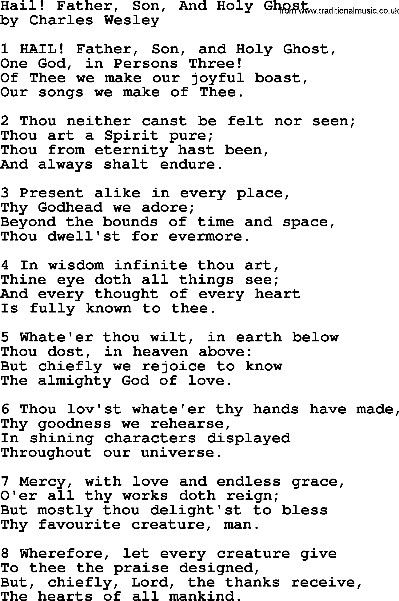Hail Father Son And Holy Ghost By Charles Wesley Hymn
