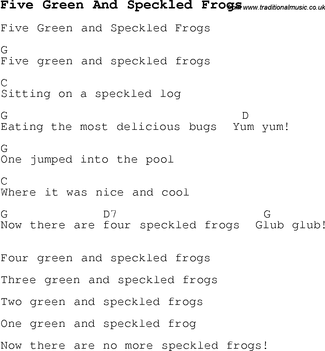 5 green frogs song