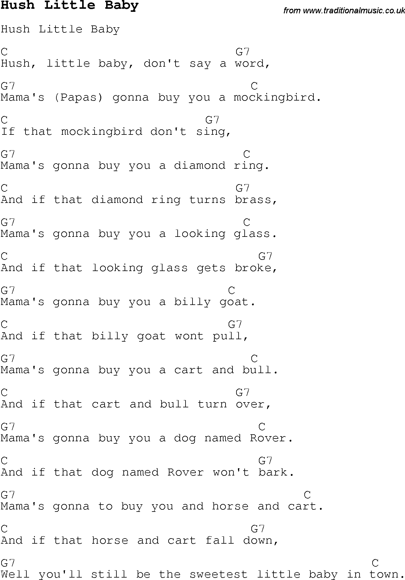 Mockingbird Lyrics Nursery Rhyme - LyricsWalls