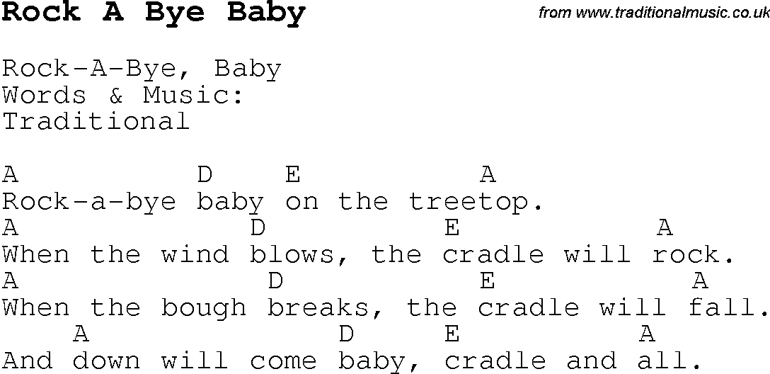 Childrens Songs And Nursery Rhymes Lyrics With Easy Chords For Rock