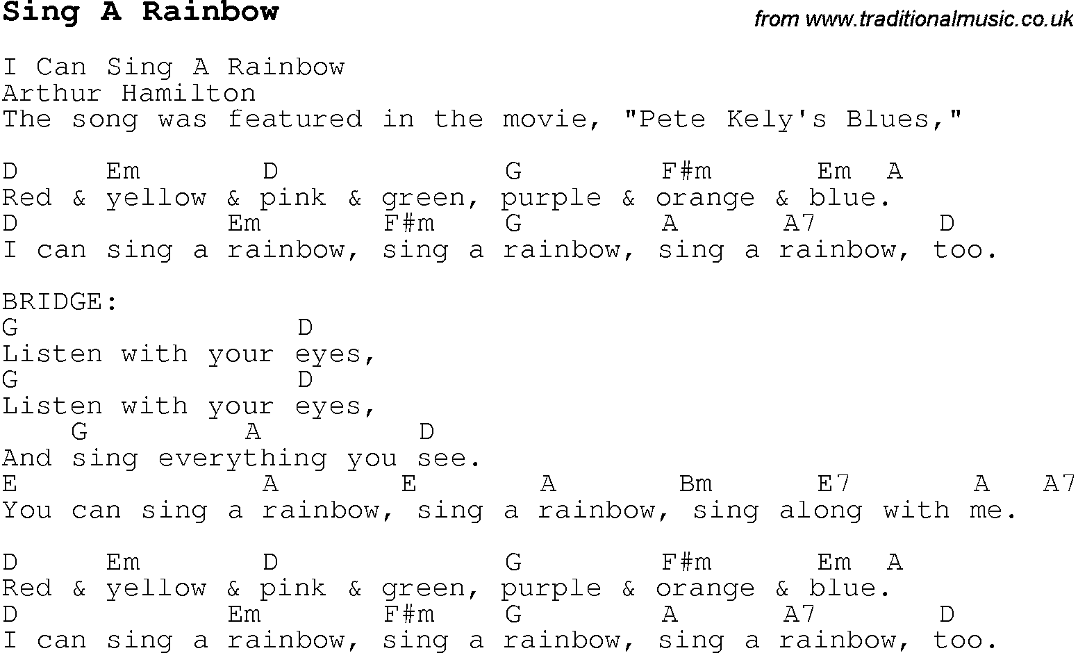 Childrens Songs And Nursery Rhymes Lyrics With Easy Chords For Sing