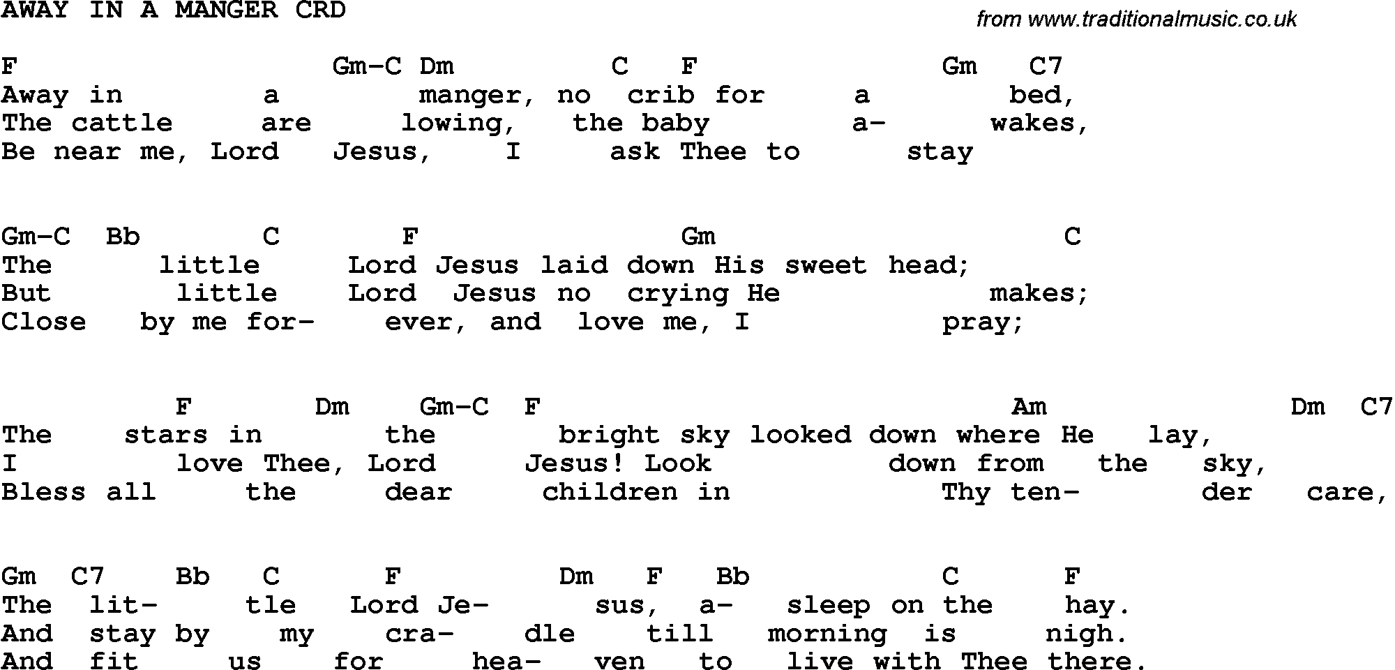Christian Childrens Song: Away In A Manger Lyrics and Chords