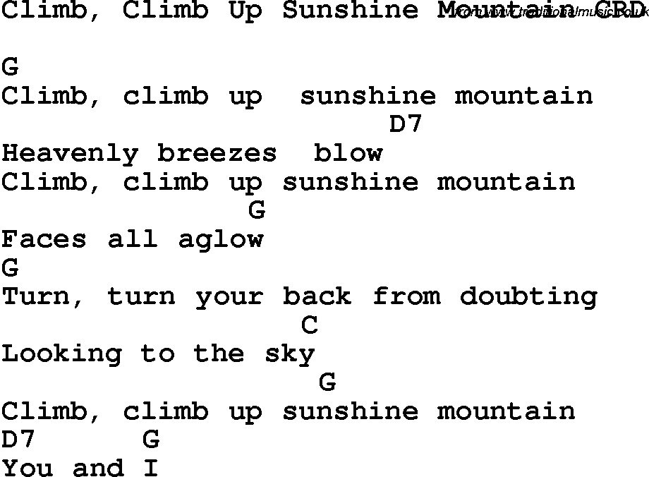 Guitar chords for the climb