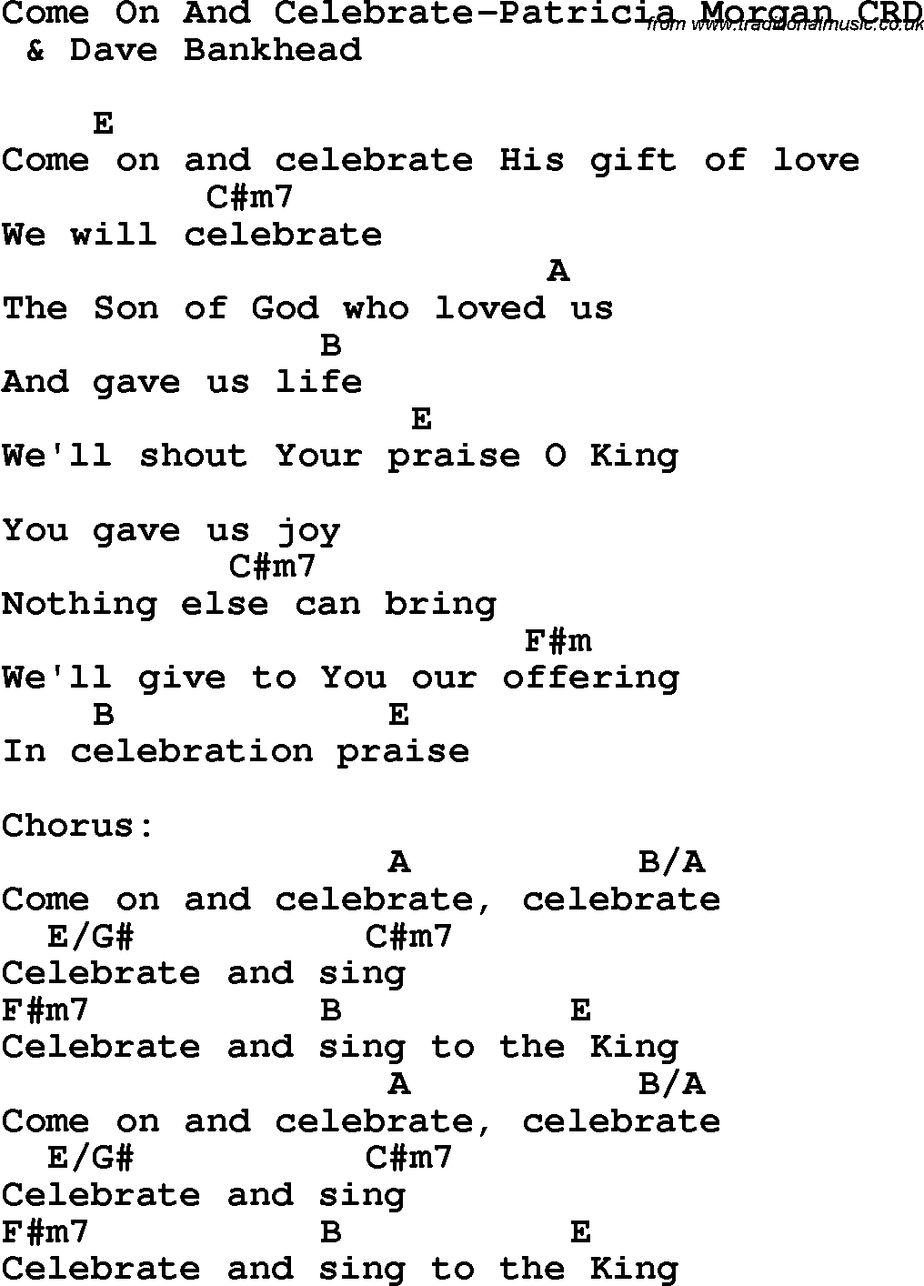 Christian childrens song come on and celebrate patricia morgan christian chlidrens song come on and celebrate patricia morgan crd lyrics chords hexwebz Choice Image