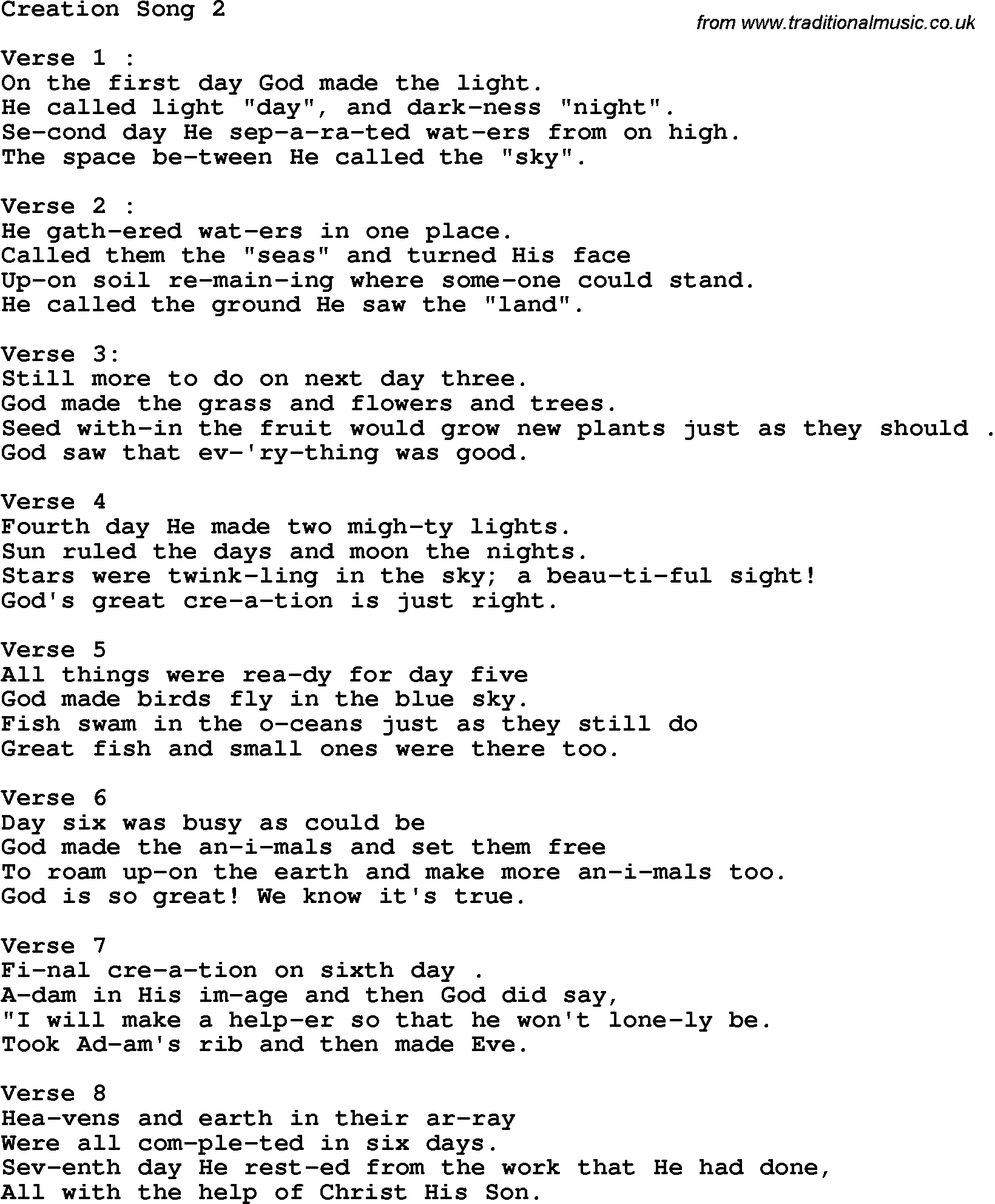 Words to christian songs