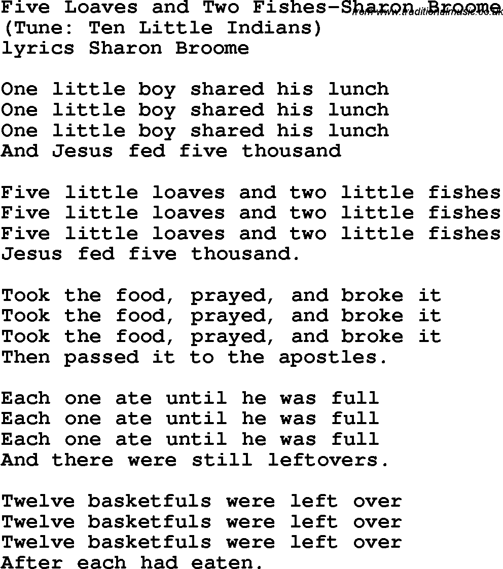 Five loaves and two fishes Lyrics - YouTube