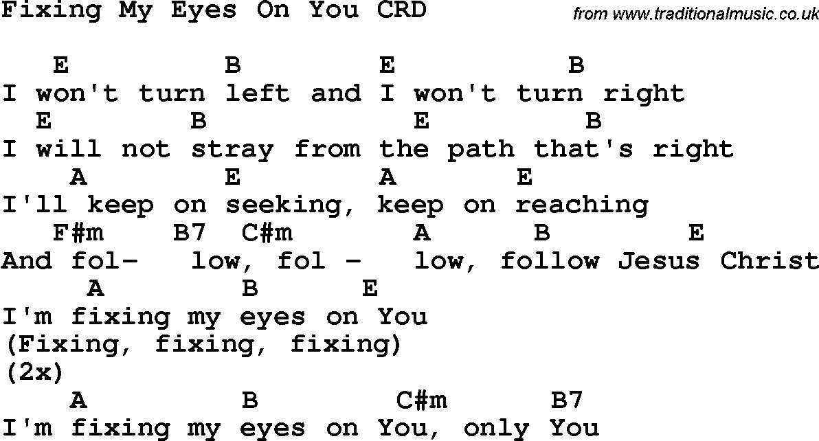 Christian Childrens Song: Fixing My Eyes On You Lyrics and Chords