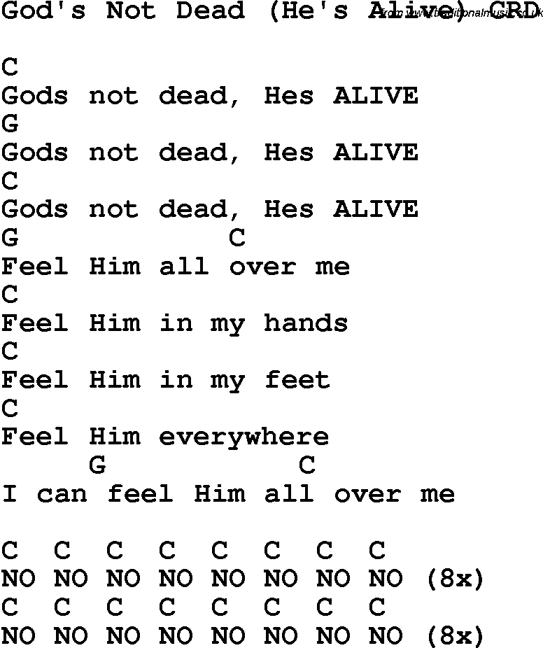 Christian Childrens Song Gods Not Dead Hes Alive Lyrics And Chords