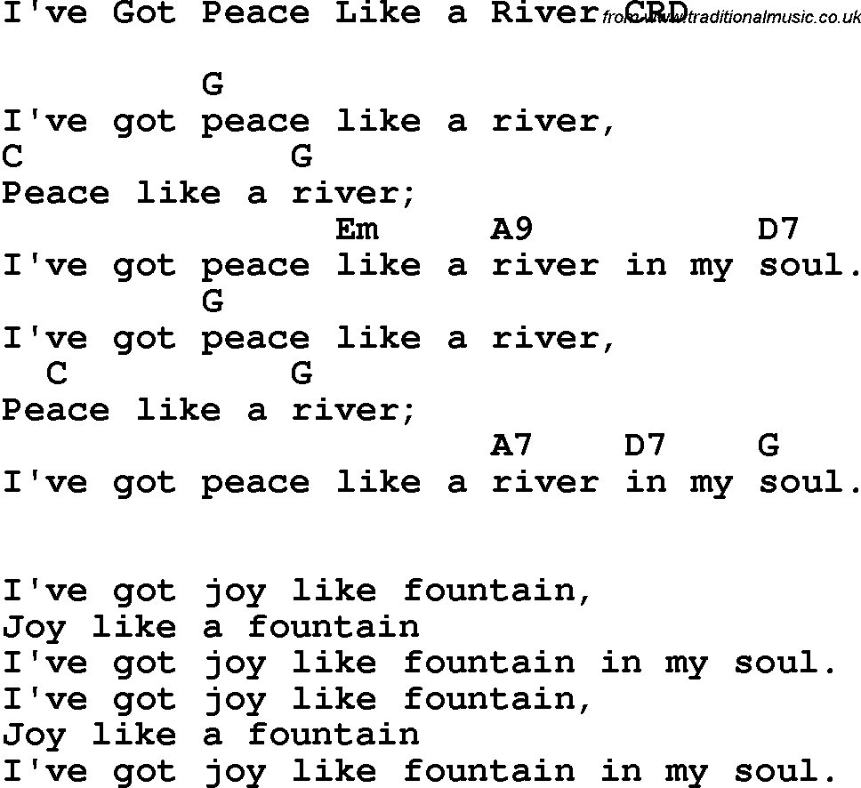 Christian Childrens Song Ive Got Peace Like A River Lyrics And Chords