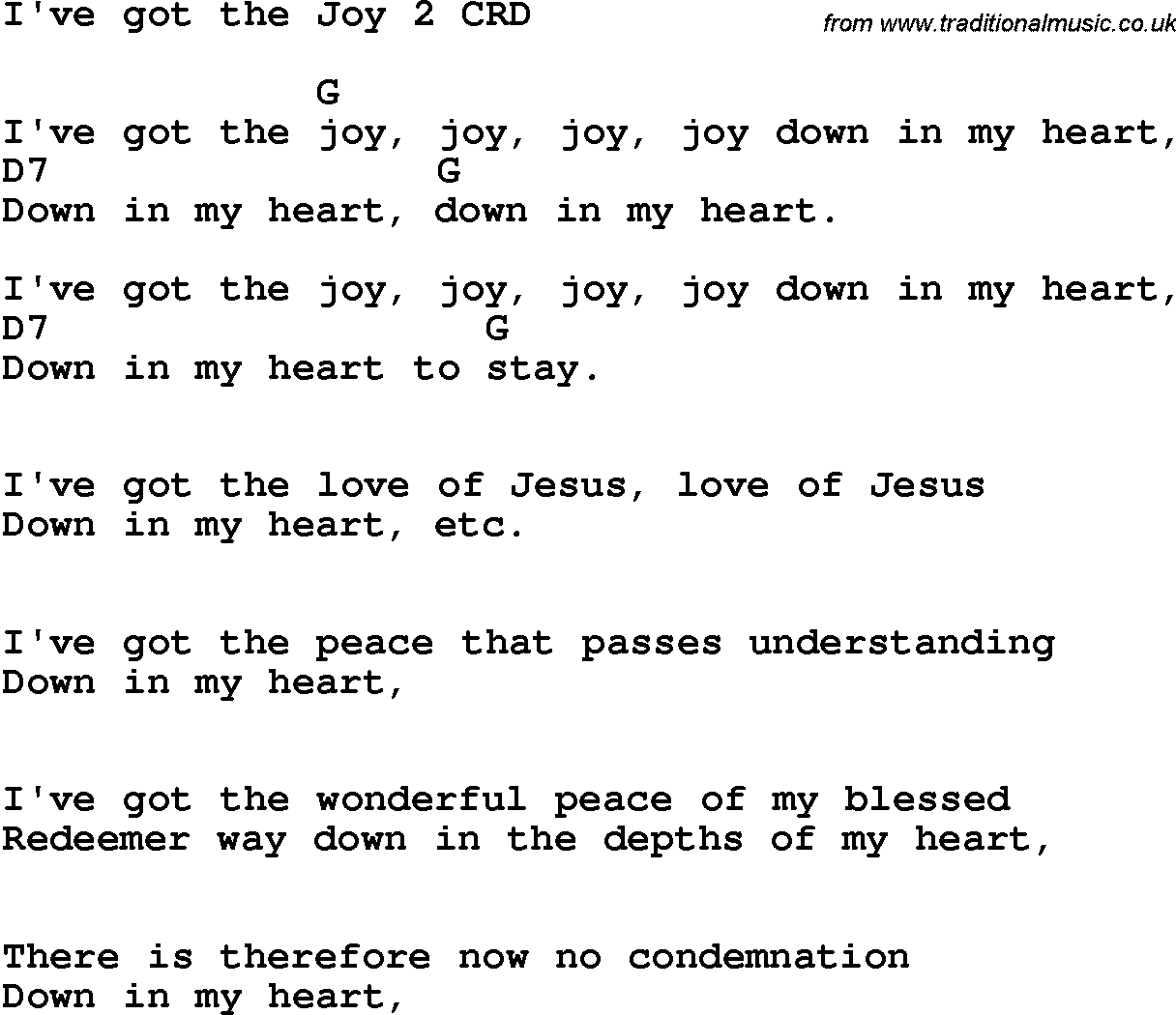 Christian song joy in my heart