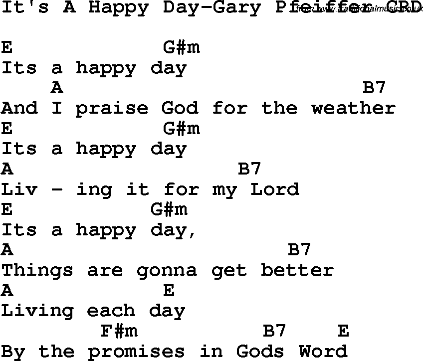 Christian Childrens Song Its A Happy Day Gary Pfeiffer Lyrics And