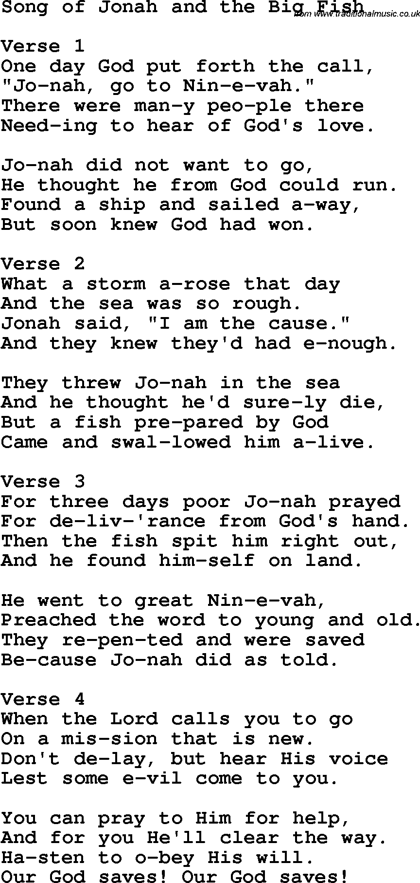 Christian childrens song song of jonah and the big fish for Fish songs for preschoolers