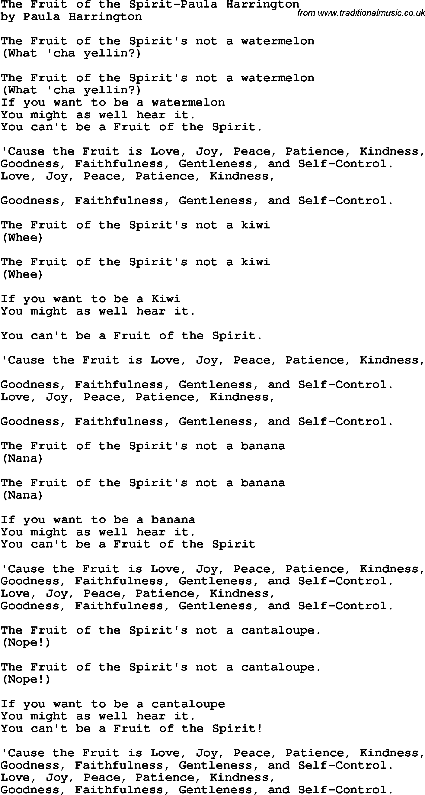 fruit of the spirit song sharon fruit