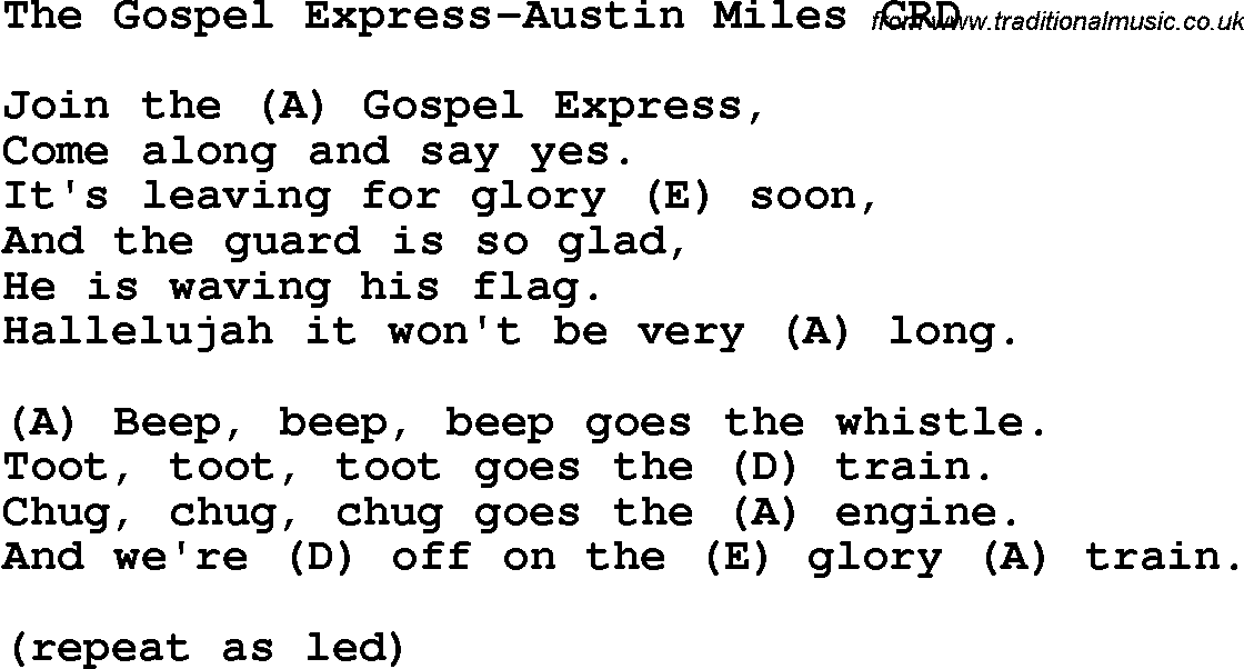 Christian Childrens Song: The Gospel Express-Austin Miles Lyrics and ...