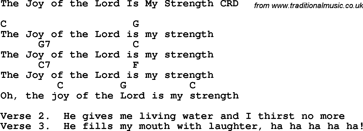Christian Childrens Song: The Joy Of The Lord Is My Strength Lyrics ...
