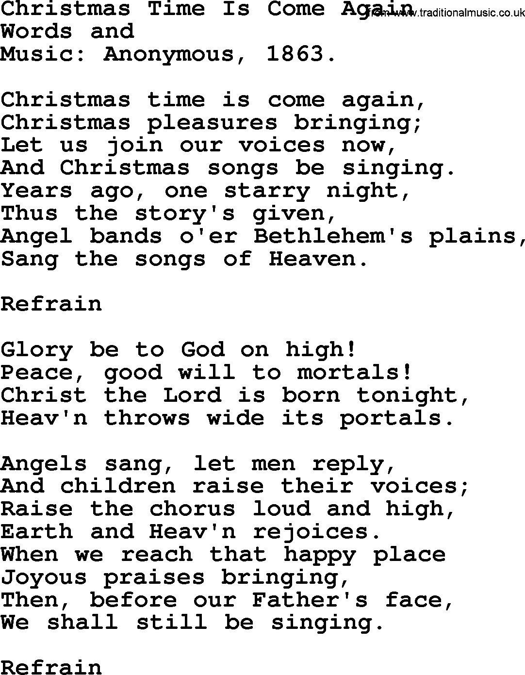 Christmas Hymns, Carols and Songs, title: Christmas Time Is Come ...