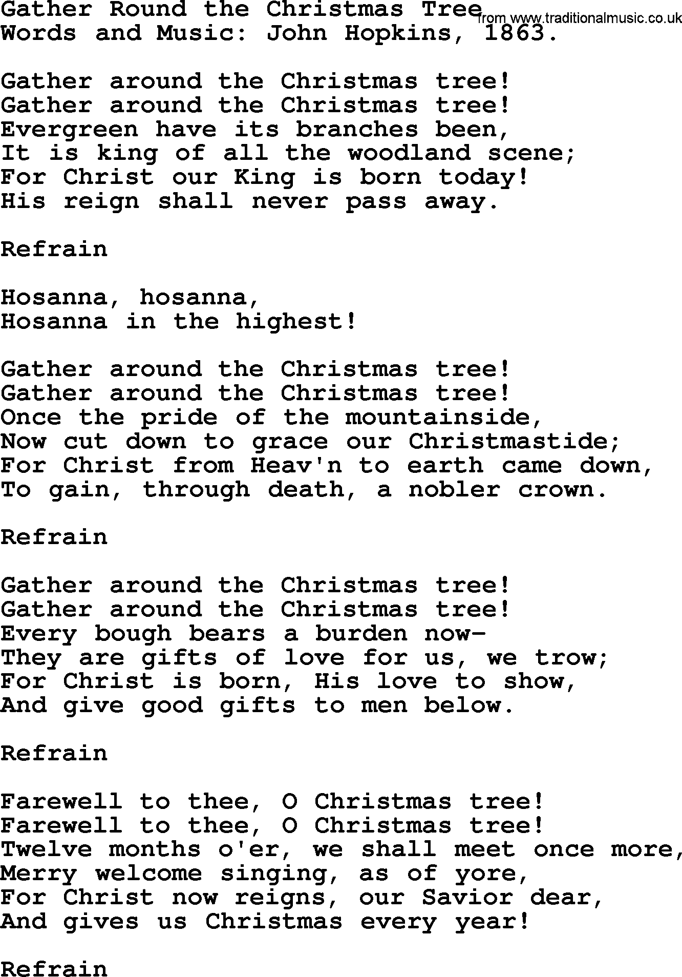 Christmas Hymns, Carols and Songs, title: Gather Round The Christmas ...