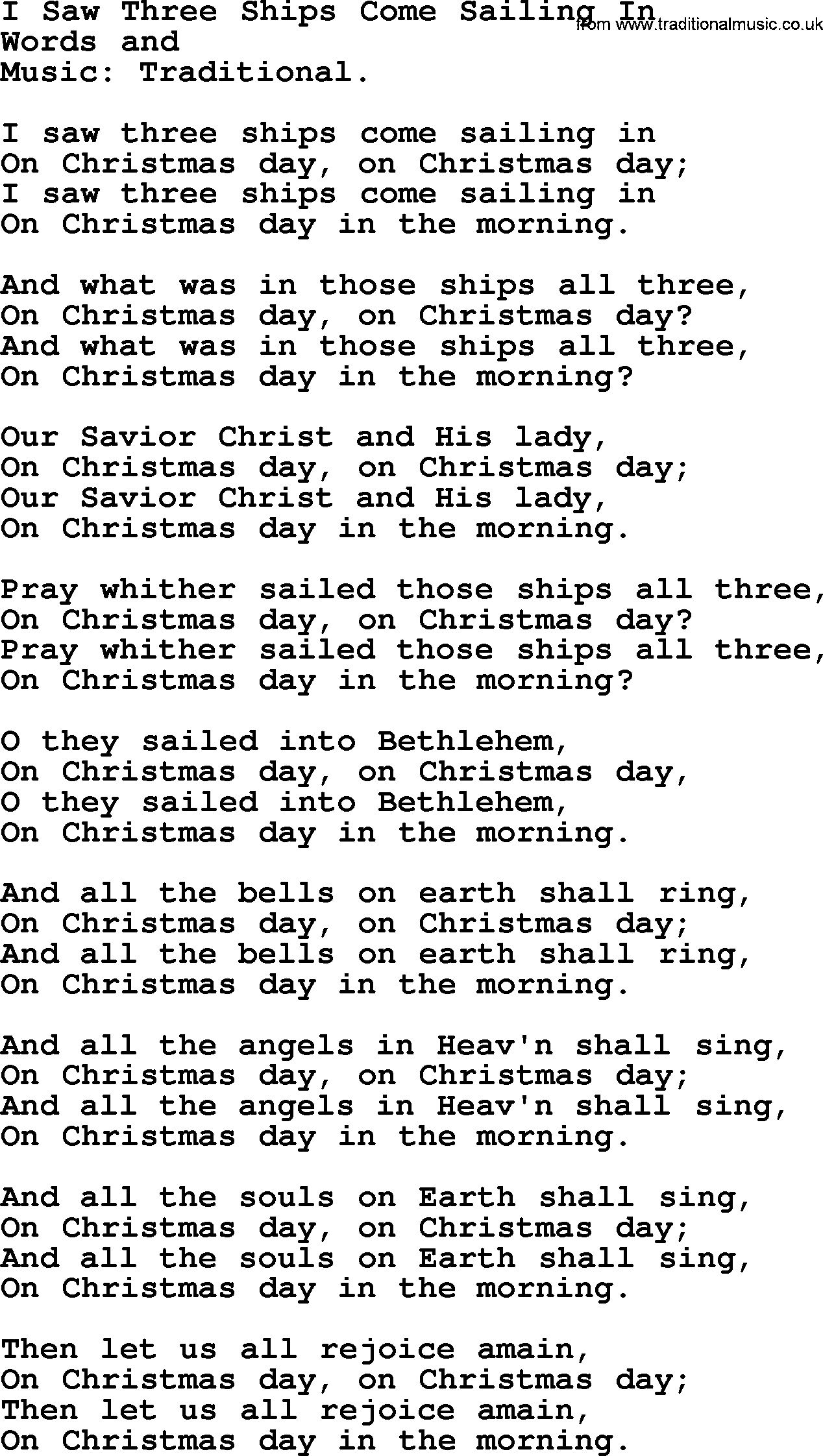 Christmas Hymns, Carols and Songs, title: I Saw Three Ships Come Sailing In - complete lyrics ...