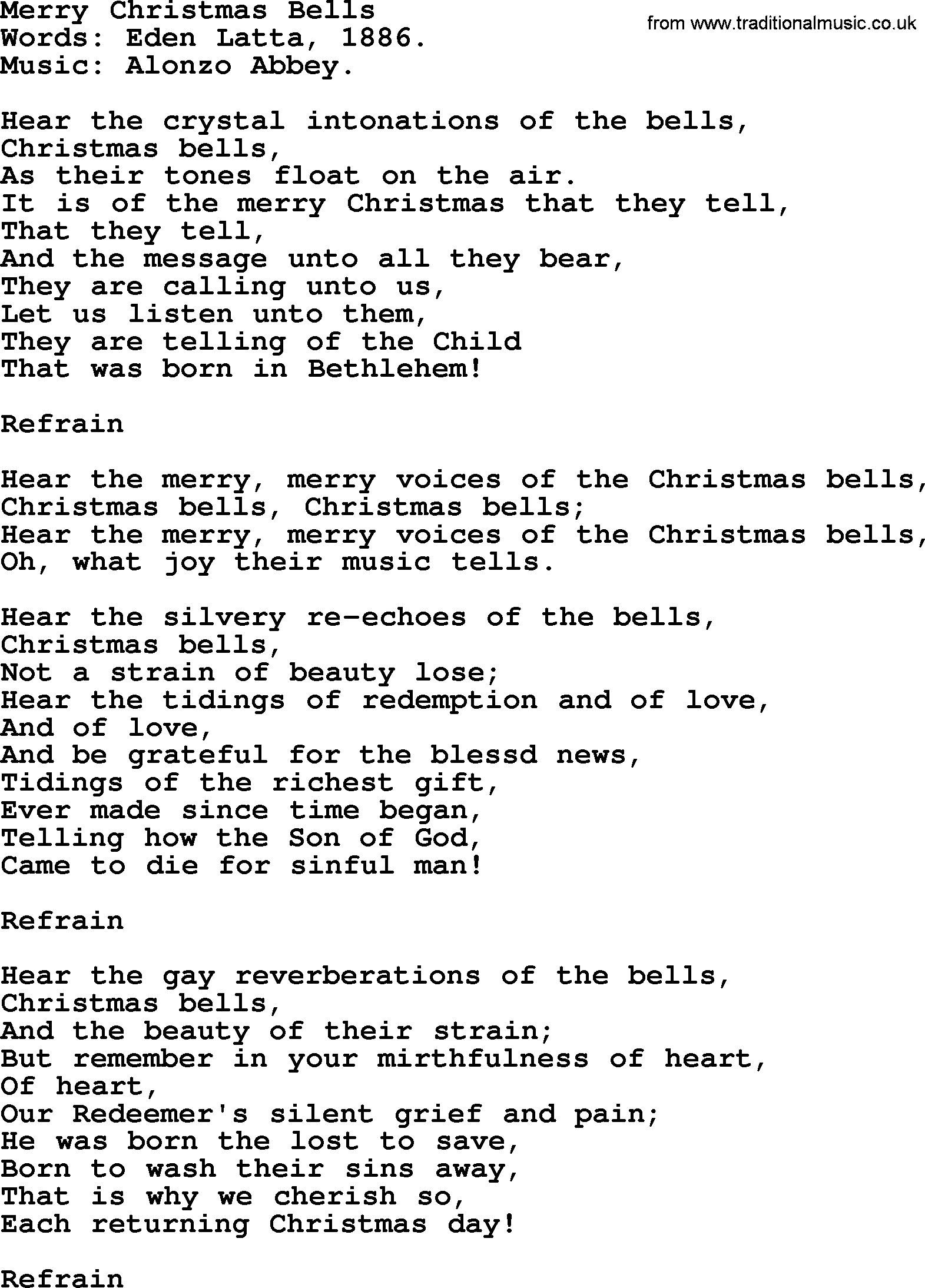 Christmas Hymns, Carols and Songs, title: Merry Christmas Bells ...