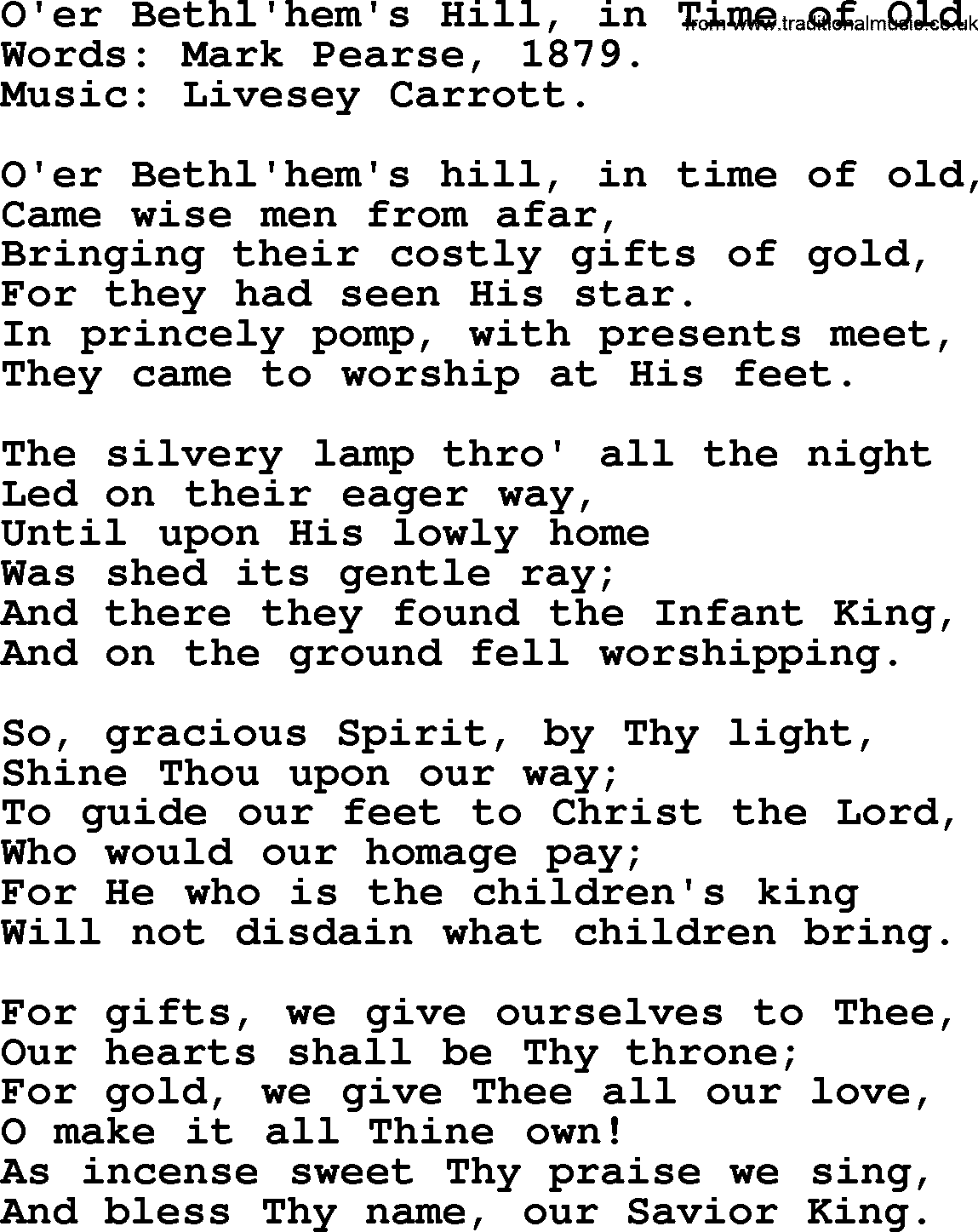 Christmas Hymns, Carols and Songs, title: O\'er Bethl\'hem\'s Hill, In ...