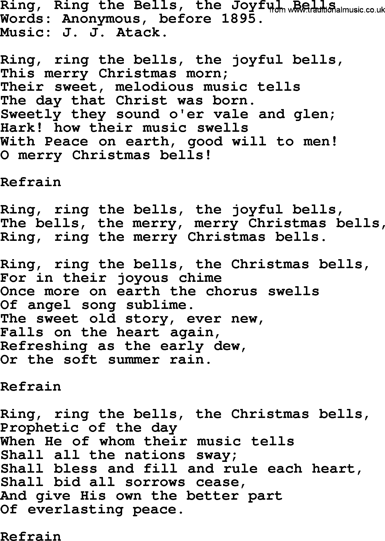 Christmas Hymns, Carols and Songs, title: Ring, Ring The Bells, The Joyful Bells - complete ...