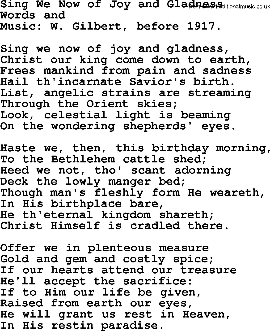 christmas hymns carols and songs title sing we now of joy and gladness