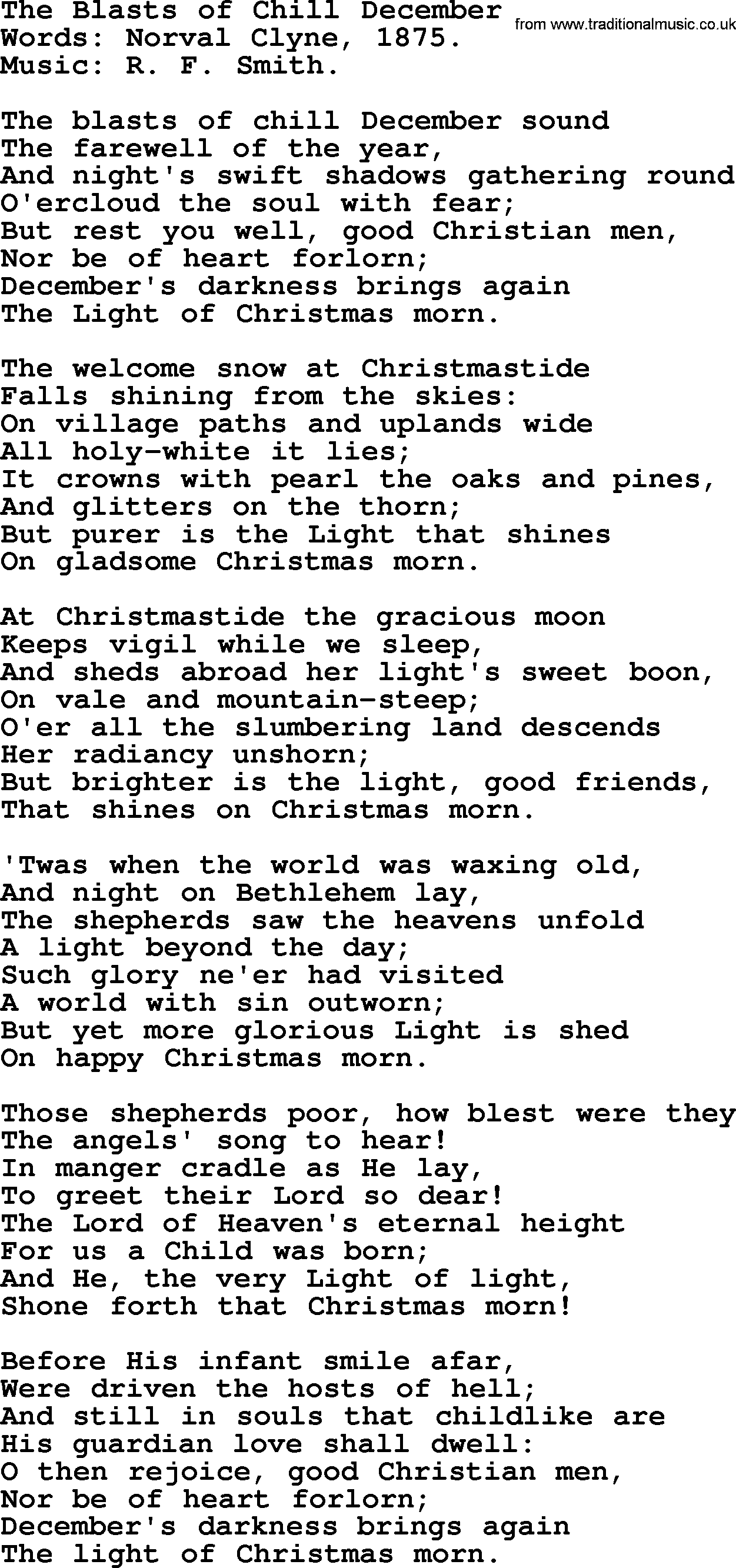 Christmas Hymns, Carols and Songs, title: The Blasts Of Chill ...