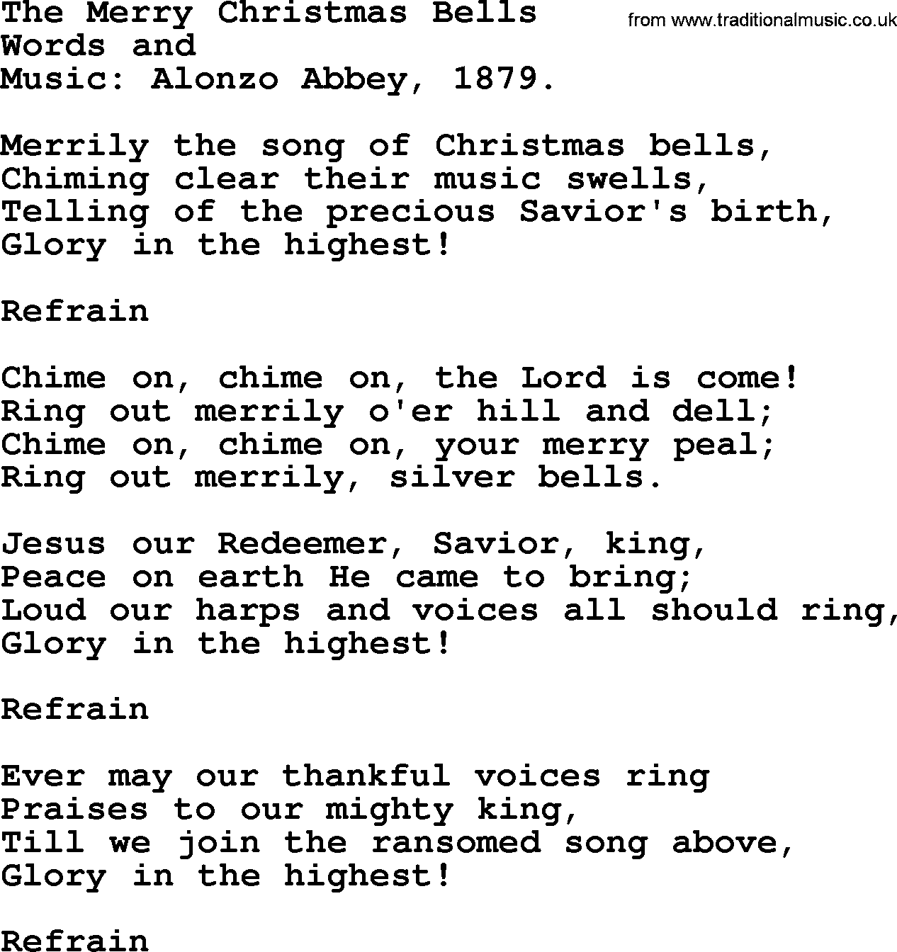 Christmas Hymns, Carols and Songs, title: The Merry Christmas Bells - complete lyrics, and PDF