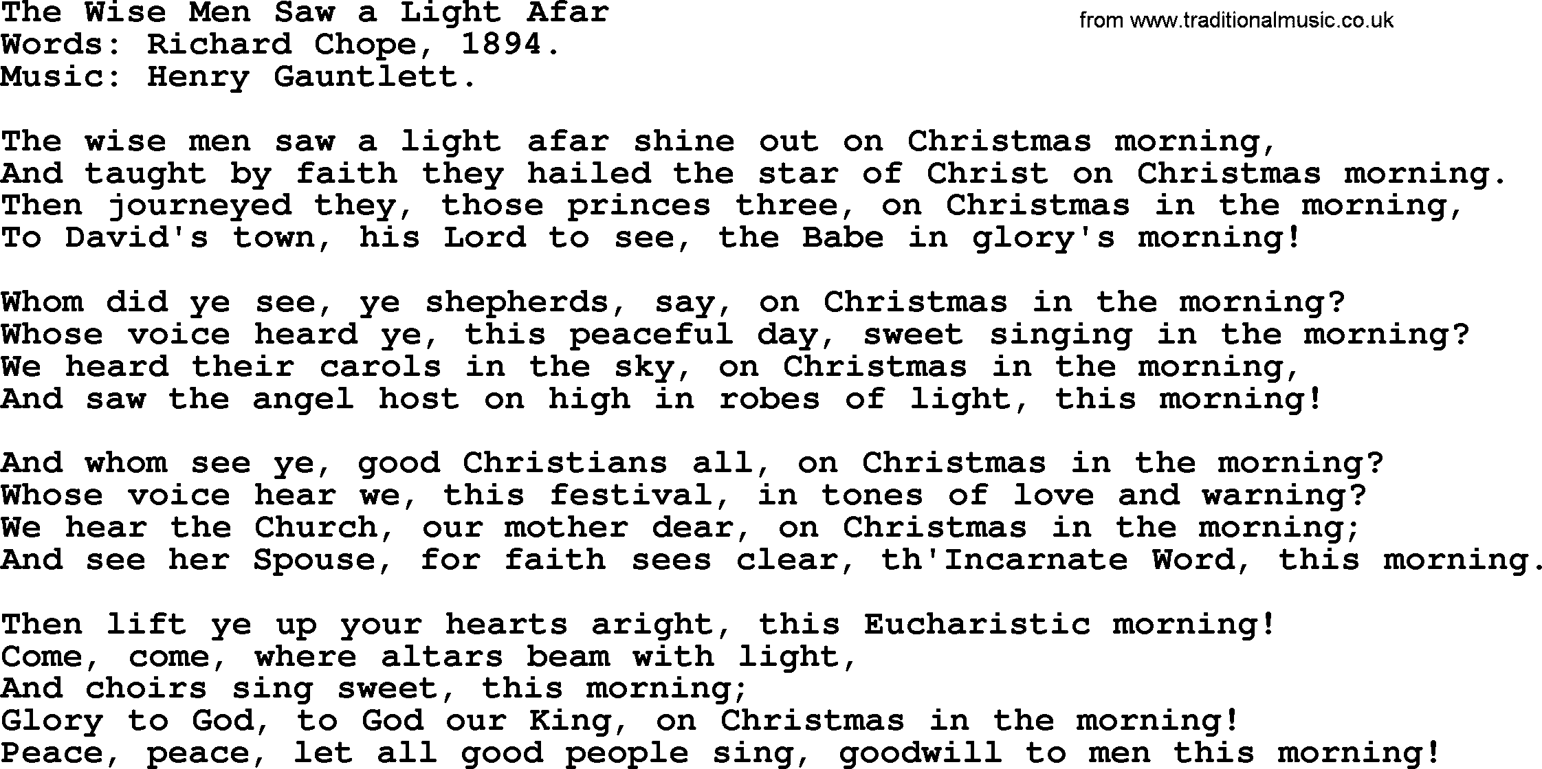 Light Of Christmas Lyrics.Christmas Hymns Carols And Songs Title The Wise Men Saw A