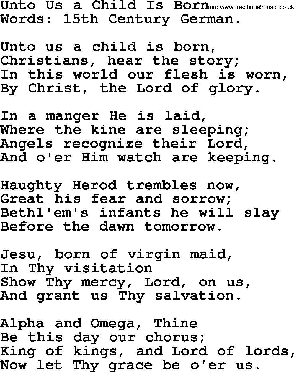 Christmas Hymns, Carols and Songs, title: Unto Us A Child Is Born - complete lyrics, and PDF